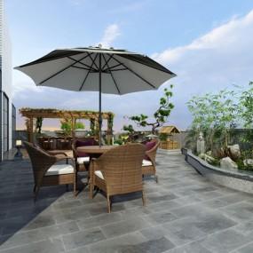 新中式庭院花園3d模型【ID:547180693】