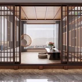新中式茶室休閑區3D模型【ID:328249743】