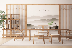 中式茶桌椅裝飾架組合3D模型【ID:327787618】