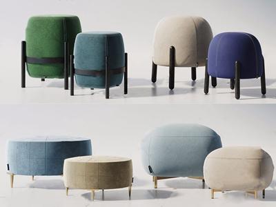 現代沙發凳組合3D模型【ID:420818363】