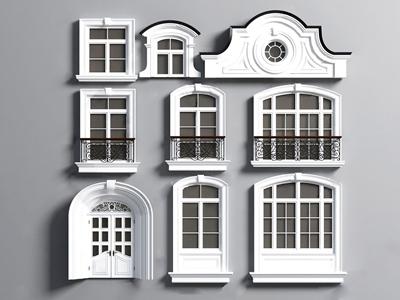 簡歐窗戶圍欄線條裝飾3D模型【ID:334830286】
