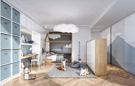北歐兒童房3D模型【ID:536238788】