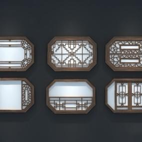 中式镂花窗3D模型【ID:726227628】