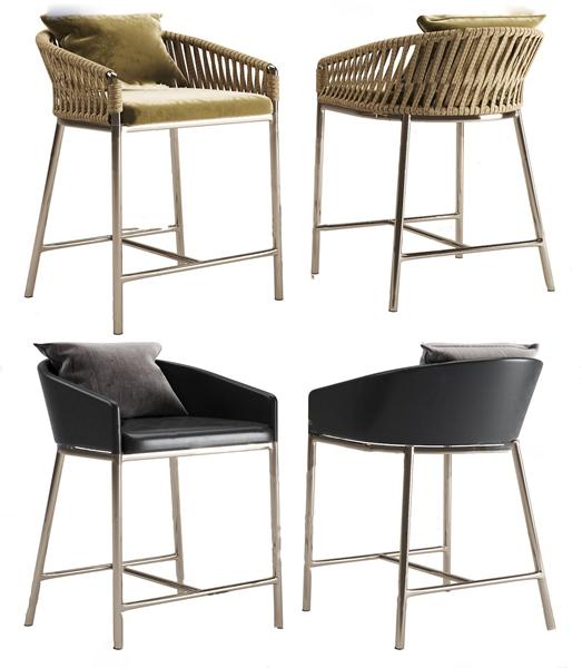 現代金屬皮革吧椅3D模型【ID:747179227】