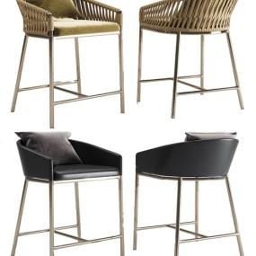 现代金属皮革吧椅3d模型【ID:747179227】