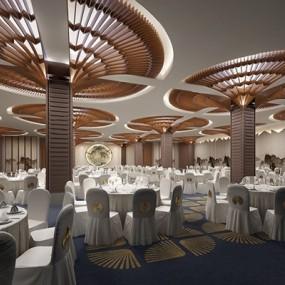 新中式宴会厅3D模型【ID:427957494】