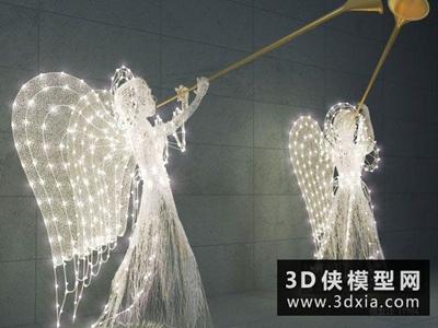 天使裝飾燈國外3D模型【ID:929608023】