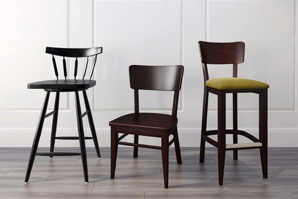 美式吧椅休闲椅组合3D模型【ID:327933106】