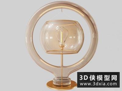 現代玻璃臺燈國外3D模型【ID:829415946】