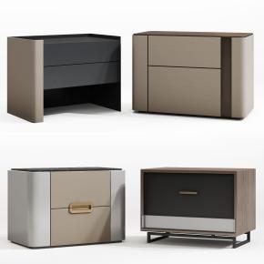 現代實木床頭柜組合3D模型【ID:927827640】