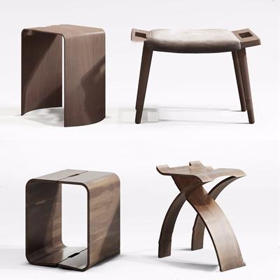新中式邊幾凳子組合3D模型【ID:427987305】