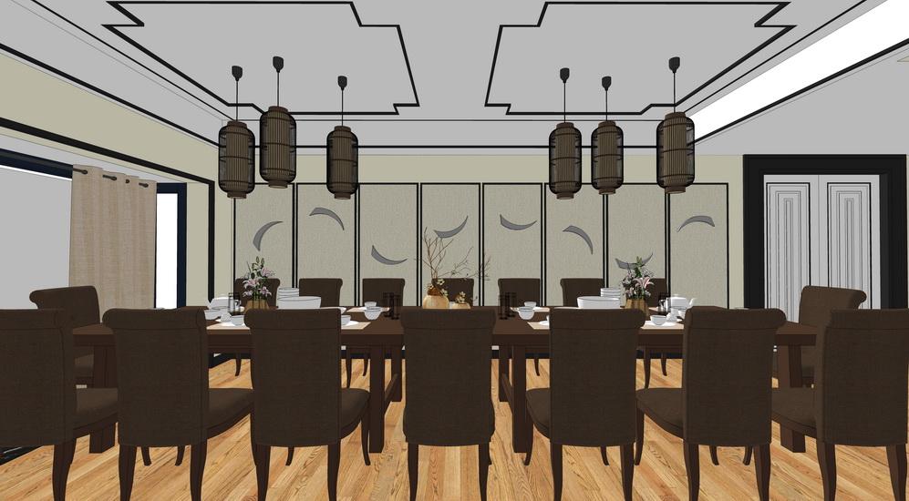 中式餐厅室内设计SU模型【ID:936752817】