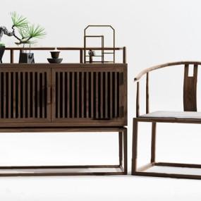 新中式實木餐邊柜單椅3d模型【ID:747088003】