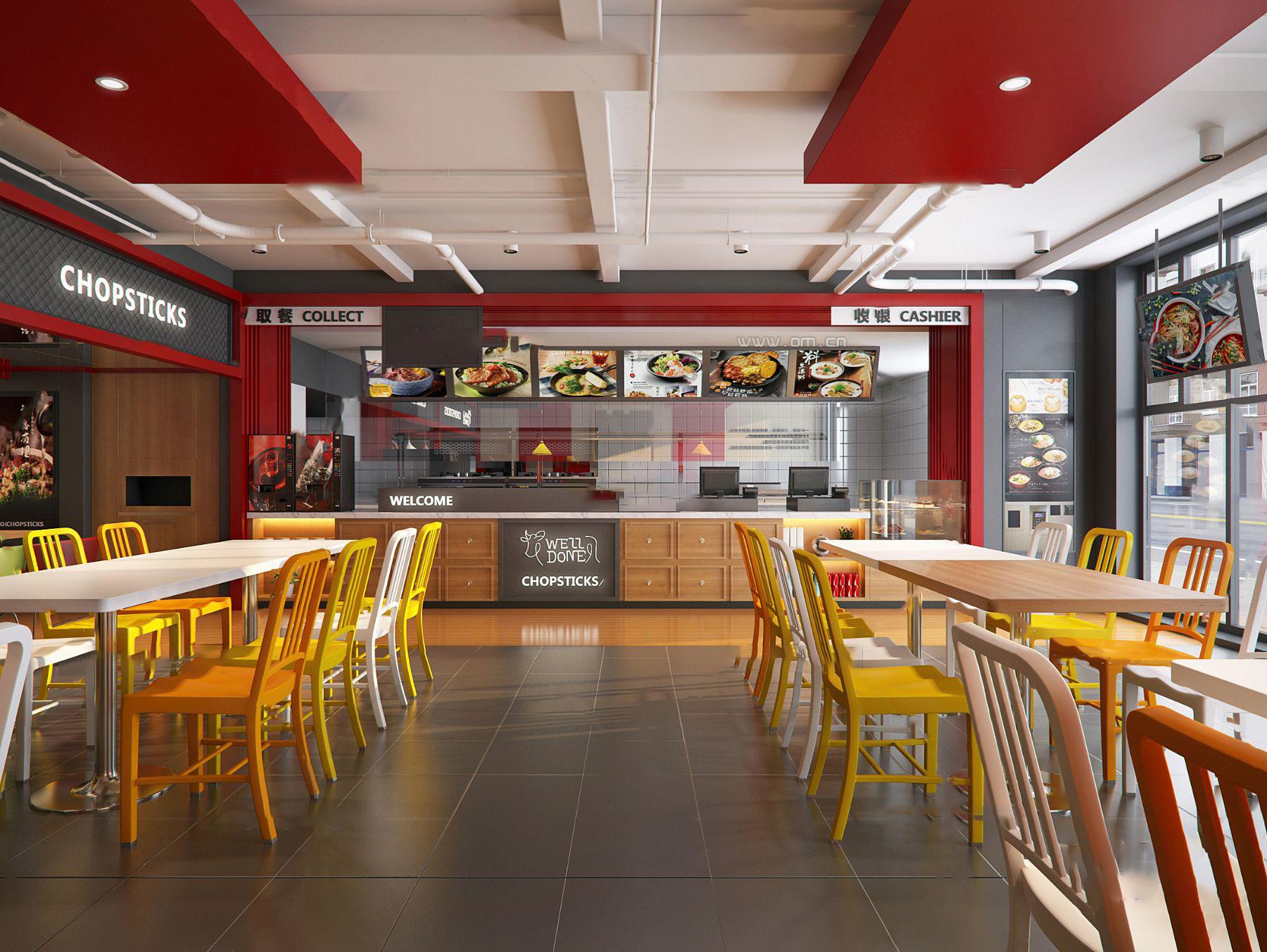 現代快餐店3D模型【ID:642180273】