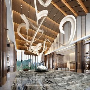 新中式酒店大堂3D模型【ID:431946284】