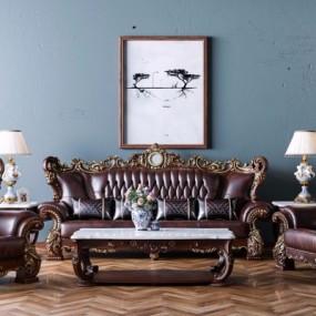 欧式皮革沙发茶几边几台灯组合3D模型【ID:127761026】