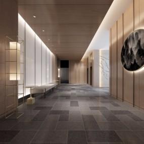 新中式走廊过道3D模型【ID:428443860】