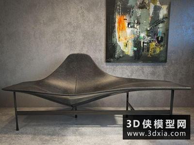 现代休闲椅国外3D模型【ID:729478874】
