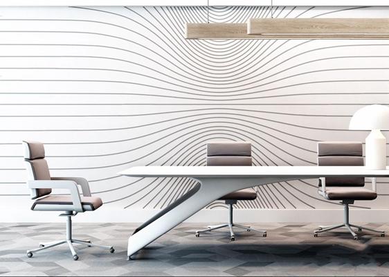 現代辦公桌椅組合3D模型【ID:328243644】