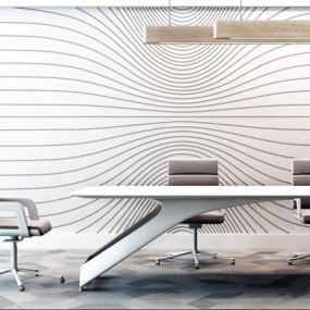 现代办公桌椅组合3D模型【ID:328243644】