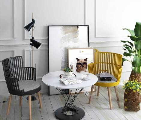 现代桌椅组合3D模型【ID:320600558】