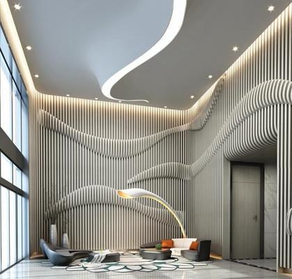 现代接待大厅创意沙发组合3D模型【ID:427937273】