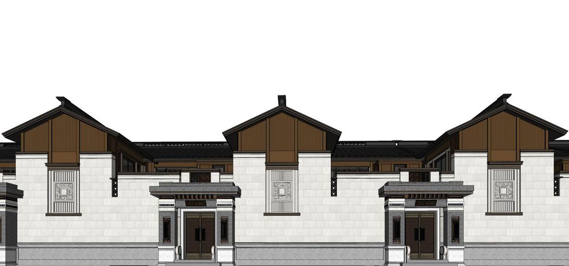 泰禾南京院子中式合院別墅SU模型【ID:336755222】