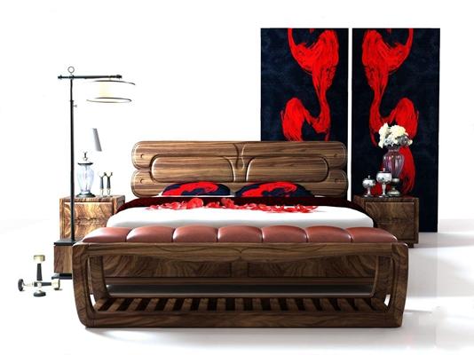 新中式床具3D模型【ID:328116562】