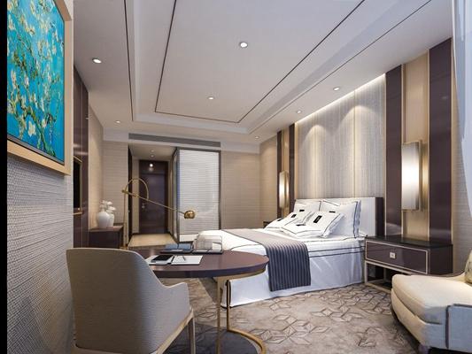 現代新中式客房3D模型【ID:427972687】