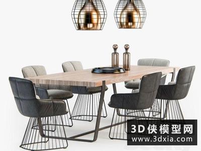 現代餐桌椅组合国外3D模型【ID:729356778】