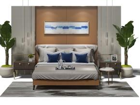 现代床头背景墙双人床床头柜摆件组合3D模型【ID:727806090】