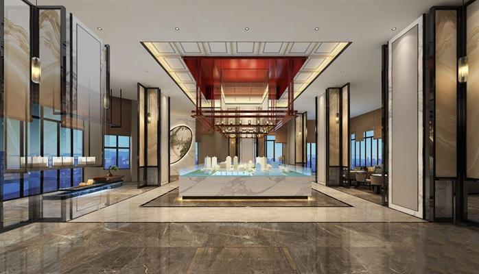 新中式售楼处大堂3D模型【ID:428256557】