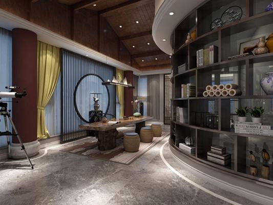 新中式茶室3D模型【ID:328248755】