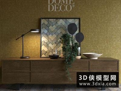 现代电视柜国外3D模型【ID:829448032】
