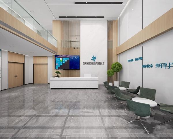 现代办公楼前台大厅3D模型【ID:947405210】