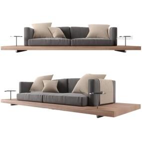北歐原木雙人沙發3d模型【ID:647289595】
