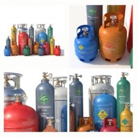 现代气体罐组合3D模型【ID:928562433】