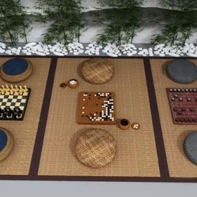 新中式蒲团象棋围棋组合3D模型【ID:628299070】