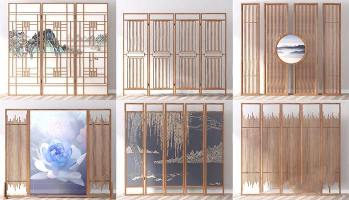 新中式屏风组合3D模型【ID:828324416】
