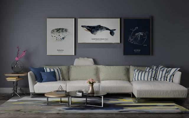 现代沙发茶几组合3D模型【ID:620606081】