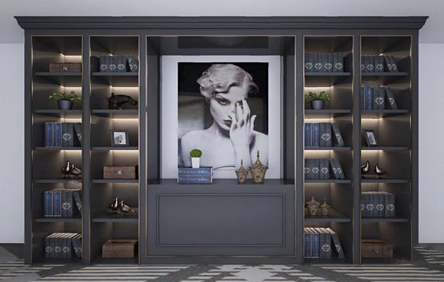 现代书柜3D模型【ID:926227507】