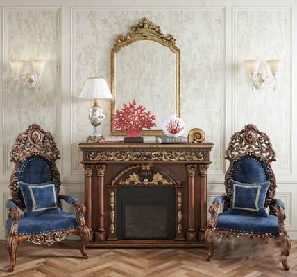 欧式沙发椅3D模型【ID:920027635】