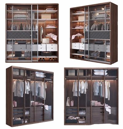 现代衣柜组合3D模型【ID:928351933】