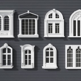 欧式窗3D模型【ID:726225654】
