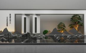新中式石頭水景牌坊組合3D模型【ID:127755801】