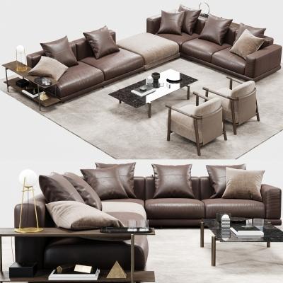 现代皮革沙发茶几单椅组合3D模型【ID:127776094】