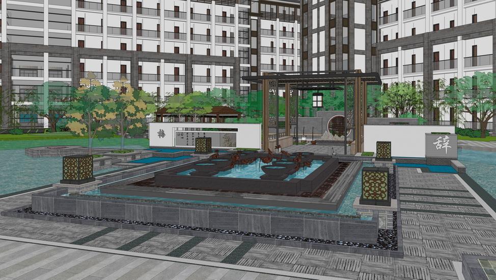 新中式酒店景观SU模型【ID:536764569】
