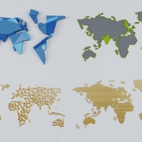 世界地图墙饰3D模型【ID:127854162】