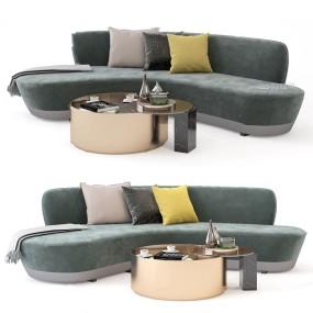 現代布藝弧形多人沙發3d模型【ID:646658795】