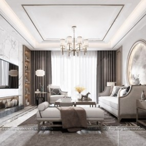 新中式客厅3D模型【ID:536239075】